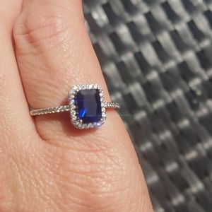 Sterling Silver sapphire & cz ring size 12